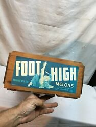 Vintage Foot High Melons Wood Wooden Fruit Crate Box Paper Label Usa 1940s 50s