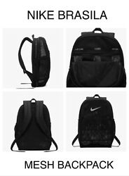 Nike Backpack Mesh Training Brasilia Black with White Authentic Shoulder Bag 26L $29.99