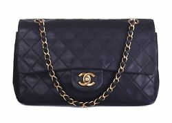 CHANEL Black Leather Quilted Small Double Flap GHW CC Shoulder Bag Purse $2450.00