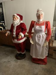 Rare Gemmy Life Size 5ft Christmas Animated Singing Dancing Santa Claus And Mrs.