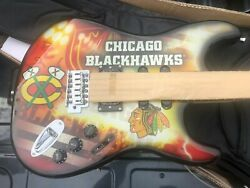 85 Of 100 Chicago Blackhawks Woodrow Northender Electric Guitar W/case/stand