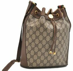 Authentic GUCCI Web Sherry Line Shoulder Bag GG PVC Leather Brown A7338 $340.00