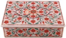 6x4x2 Marble Jewelry Vintage Box Carnelian Marquetry Floras Veterans Gift Art