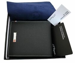 St Dupont Defi Leather Perforated Wallet Business Credit Card Holder 170402