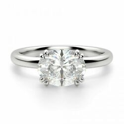 Real Solid 14k White Gold 1.25 Ct Oval Cut Vvs1 Diamond Metallic Engagement Ring