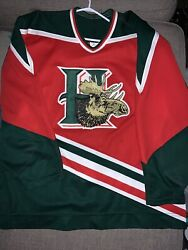 Vintage Ccm On Ice Authentic Halifax Mooseheads Jersey Size 52 Chl Fight Strap