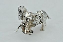 Rare Cast Hm Sterling Silver Standing Elephant Statue