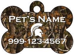 Michigan State Realtree Camo Pet Id Dog Tag Personalized for Your Pet $13.97