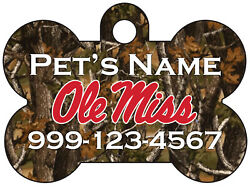 Ole Miss Rebels Realtree Camo Pet Id Dog Tag Personalized for Your Pet $13.97