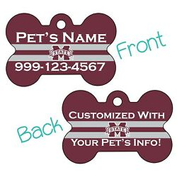 Mississippi State NCAA 2 Sided Pet Id Dog Tag Personalized for Your Pet $20.47