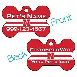 Nebraska Cornhuskers NCAA 2 Sided Pet Id Dog Tag Personalized for Your Pet $20.47