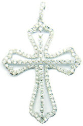 2.0 Carat Diamond Religious Cross Pendant Necklace In 925 Sterling Silver, Gifts