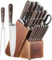 Knife Set 18-piece Kitchen Knife Set With Block Wooden German Stainless Steel