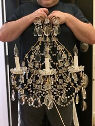 Pair Palatial Antique French Iron Crystal Macaroni Beaded Chandelier Wall Sconce