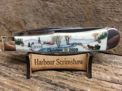 CASE KNIFE w SCRIMSHAW by HARBOUR of LIMITED Ed. CHRISTMAS WINTER VILLAGE