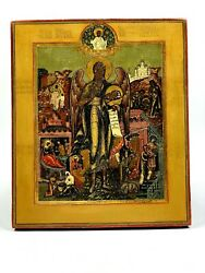 Mstera Antique 19th C Russian Icon Of St. John With Life Scenes Painting