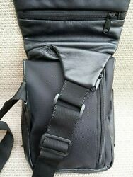 WILSON LEATHER BLACK SOFT CROSSBODY TRAVEL BAG PURSE ADJUSTABLE CANVAS STRAP $25.00