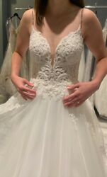 Martina Liana A-line Beaded And Lace Tulle Wedding Dress Sample Size 10 Unaltered