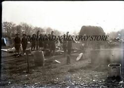 Early 1900s Army Soldiers Quartermaster Corp Ohio Original Glass Photo Negative