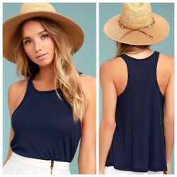 NWT Free People Long Beach Navy Blue Ribbed Tank Top XS $18.00