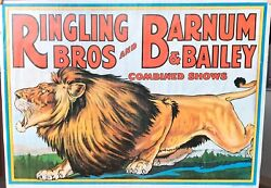Vintage Ringling Bros And Barnum And Bailey Combined Shows Poster 38x22