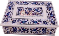 12x8x4 Marble White Jewelry Lidded Box Lapis Marquetry Floras Veterans Gift