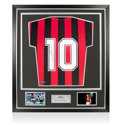 Ruud Gullit Back Signed Retro Ac Milan Home Shirt In Classic Frame Autograph