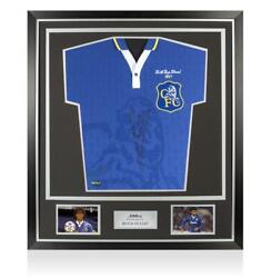 Ruud Gullit Back Signed Retro Chelsea Home Shirt 1997 Fa Cup Final Edition In C