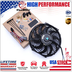 14 Inch Electric Radiator Fan High 900 Cfm Thermostat Wiring Switch Relay Kit Us