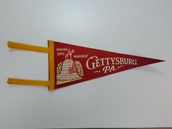 Vintage Gettysburg Pa 12 Felt Pennant Virginia State Monument Red White Yellow