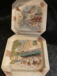 Cbk Ltd French Cafe Wall Art Square Plaques 9 3/4 Set Of 2 Beautiful