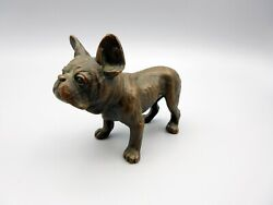Antique bronzed metal French Bulldog statue figurine
