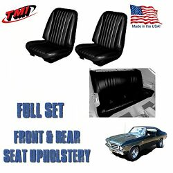 1968 Chevelle Front/rear Seat Upholstery Black Vinyl Made In Usa In Stock