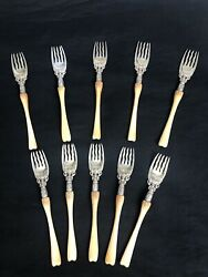 Whiting Sterling Silver Ice Cream Forks Set Of 10