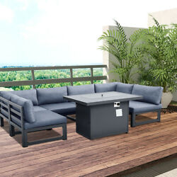 6 Seats Outdoor Aluminum Alloy Frame Outside Patio Sofa With One Fire Pit Table