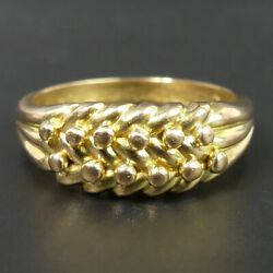Antique George V 18 Ct Gold Keeper Ring Size M 1/2 Birm. 1914 - 7.2 Grams
