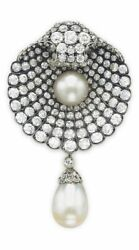 Solid 925 Sterling Silver Round Cz And Dangling Pearl Brooch Pin Wedding Jewelry