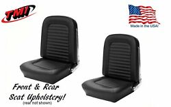 Front And Rear Seat Upholstery Black Vinyl For 1964-1/2 And1965 Mustang 2+2 Fastback
