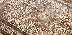 Beautiful Late 1940and039s Antique Wool Pile Natural Dye Floral Kayseri Rug 6and0396andtimes9and0399