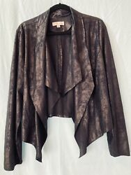 Stunning Knox Rose 2x Shimmering Faux Suede Jacket - Open Front