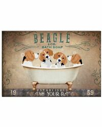Beagle Puppies Sitting On Bath Soap Poster Art Print Decor For Home No Frame