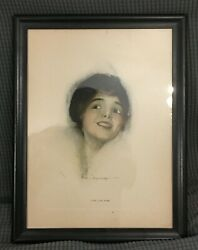 Rolf Armstrong Print The Live Wire Signed And Framed 16.5 By 12.5