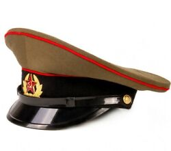 Genuine Soviet Ussr Russian Soldier Hat With Military Badge Star Emblem Size 57