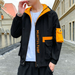 Menand039s Spring And Autumn Hooded Print Handsome Fashion All-match Tooling Trend Ja