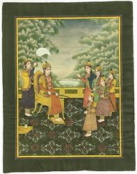 Hand Painted Mughal Empress Queen With Followers Indian Miniature Art Painting