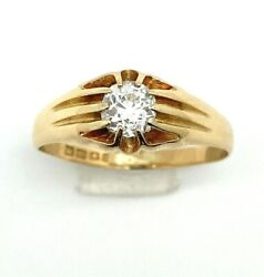 Estate Antique 18k Yellow Gold 0.82 Ctw Old Euro Diamond Solitaire Ring Size 11