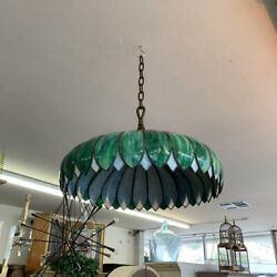 Style Hanging Swag Lamp Green Lotus Form