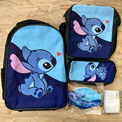 Kids 3 pc Blue Stitch Kids School Backpack with Face Mask10 Filters $19.00