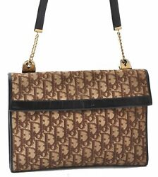 Authentic Christian Dior Trotter Shoulder Bag Canvas Leather Brown A7852 $297.00