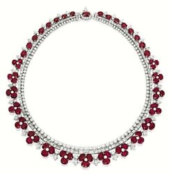 Red Oval White Round 925 Sterling Silver Floral Necklace Wedding Bridal Jewel